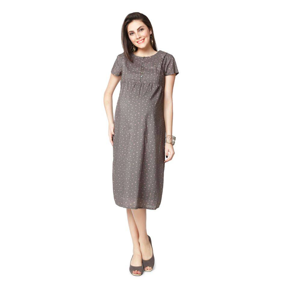 Nine Maternity printed nursing gown in multicolour
