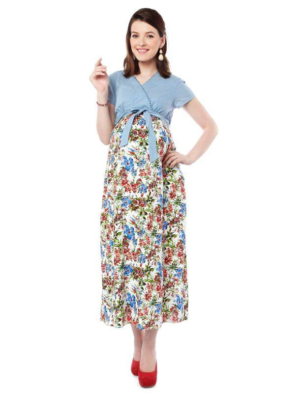 NINE MATERNITY NURSING DRESS WITH SOLID YOKE AND PRINTED MODEL