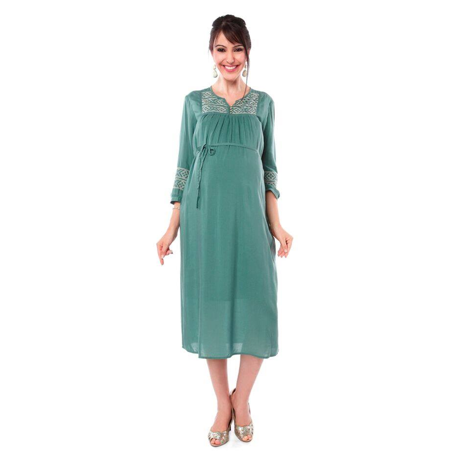 CASUAL WEAR DRESS IN GREEN GREY
