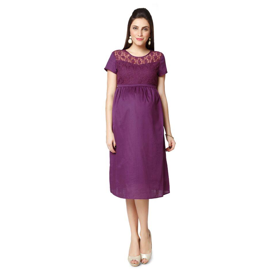 NINE MATERNITY DRESS IN PURPLE COLOUR